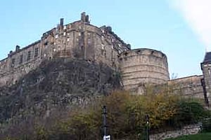 Edinburgh Castle seen from Grassmarket